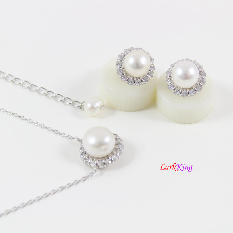 Sterling silver pearl necklace and earrings set,pearl necklace,pearl earrings,bridal  necklace set,wedding Jewelry, CZ jewelry set, LK10004