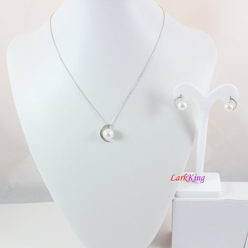 Sterling silver pearl necklace earrings set,pearl teardrop necklace,pearl earrings,bridal necklace earring set,wedding jewelry set, LK10005