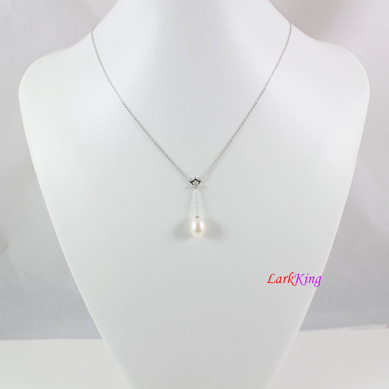Sterling silver pearl necklace and earring set,pearl necklace,pearl earrings,bridal jewelry set,teardrop jewelry set,crown necklace, LK10008