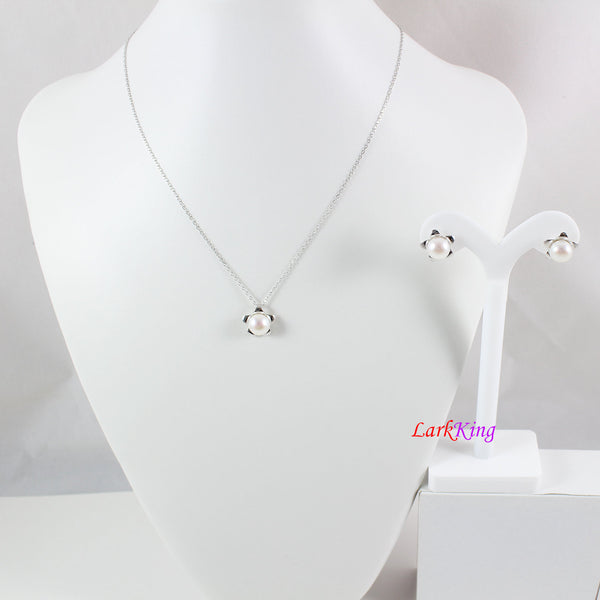 Sterling silver pearl necklace and earring set, pearl teardrop necklace, pearl earrings, bridal  necklace set, flower necklace set, LK10010