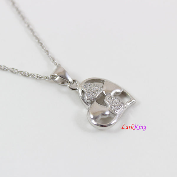 Sterling silver heart necklace,generations necklace for grandma,multiple hearts for granddaughters,heart necklace for women, Larkking LK9238