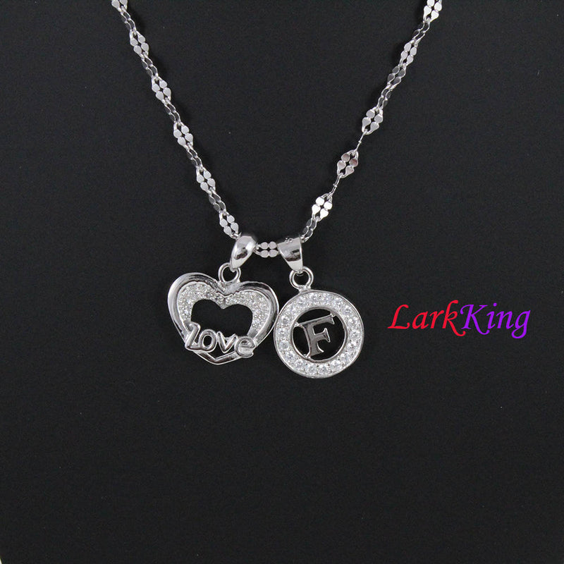 Sterling silver heart necklace, love necklace, personalized heart necklace, letter necklace, , PN04