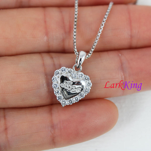 Sterling silver heart necklace, love necklace, love heart necklace, unique heart pendant, heart fine jewelry, valentine's gift, LK9207