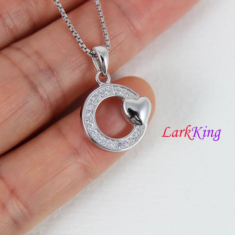 Sterling silver circle heart necklace, circle necklace, circle with heart pendant,  heart necklace women, heart necklace men, LK9214