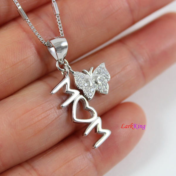 Sterling silver mom necklace,butterfly and mom heart necklace,butterfly necklace,heart necklace mom,mother's day gift,silver heart, LK9250