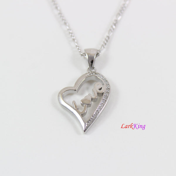 Sterling silver heart necklace, love necklace, love in heart necklace, heart for girlfriend, heart for boyfriend, silver heart gift, LK9243