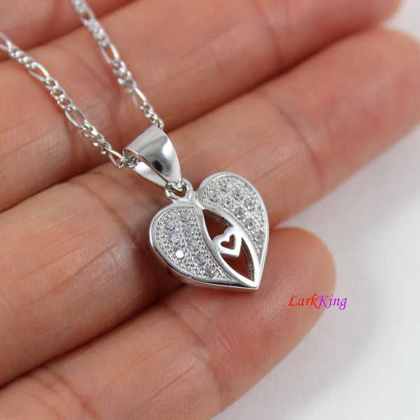 Sterling silver heart necklace,moon heart necklace,double hearts necklace,heart necklace women,heart necklace for girl,silver heart, LK9245
