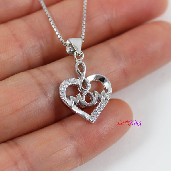 Sterling silver mom necklace,heart necklace,infinity mom heart necklace,necklace for mom,love forever mom necklace,Larkking  LK9232