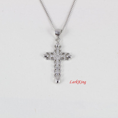 Sterling silver cross necklace, religious necklace, cross necklace, zircon crystal, christian jewelry, baptism gift, cross jewelry, NE8220