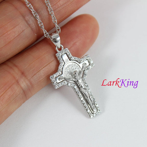 Sterling silver cross necklace, Jesus cross, small cross necklace, crucifix cross, saint cross necklace, religious cross, cross men, NE8334