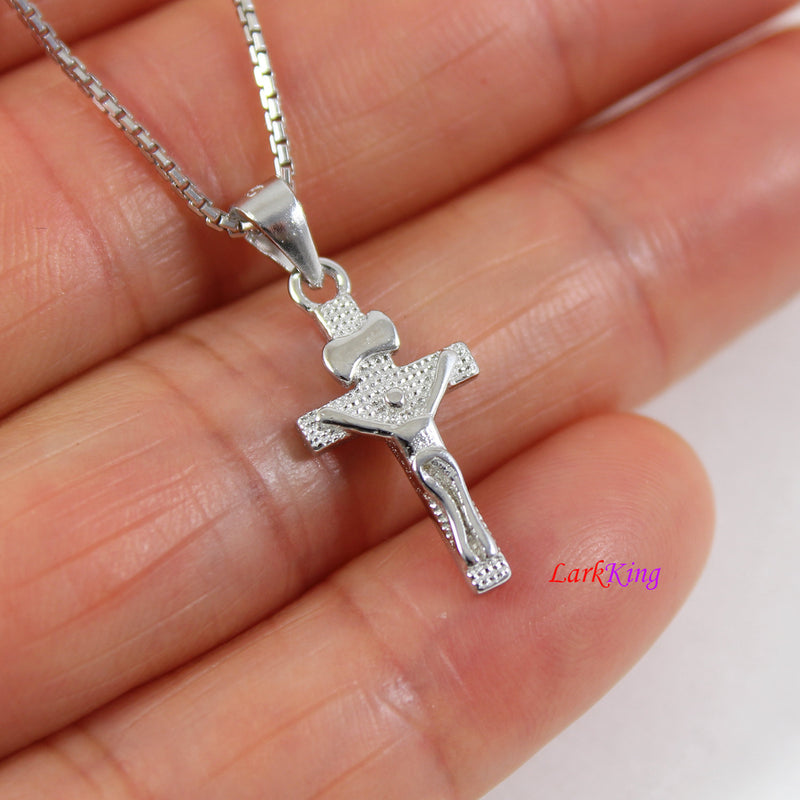 Sterling silver cross necklace, Jesus cross, tiny cross necklace, crucifix cross, crucified cross, religious cross, cross men, NE8408