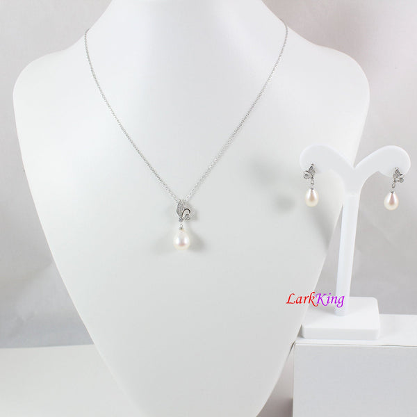 Sterling silver pearl necklace and earring set, pearl necklace, pearl earrings, bridal jewelry set, teardrop pearl, firefly necklace LK10011