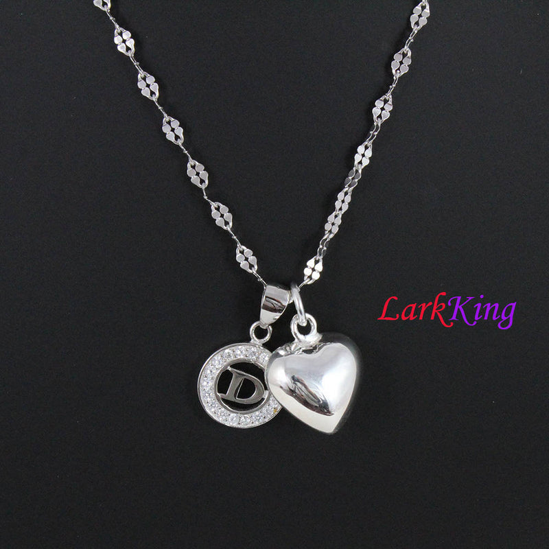 Sterling silver heart necklace, personalized heart necklace, customized necklace, letter necklace, initial necklace, Larkking PN03