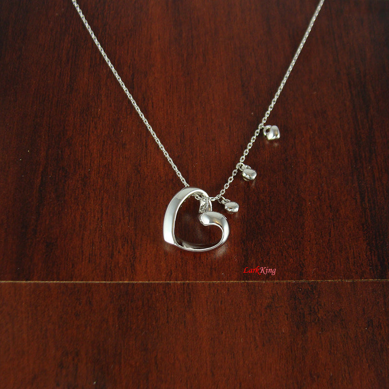 Heart necklace, personalized necklace, white gold filled stainless steel heart necklace, personalized heart necklace, initial necklace, PN38