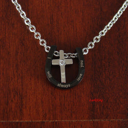 Stainless steel cross necklace, I will always love you, personalized cross necklace, black cross, personalized necklace, LarkKing NE529