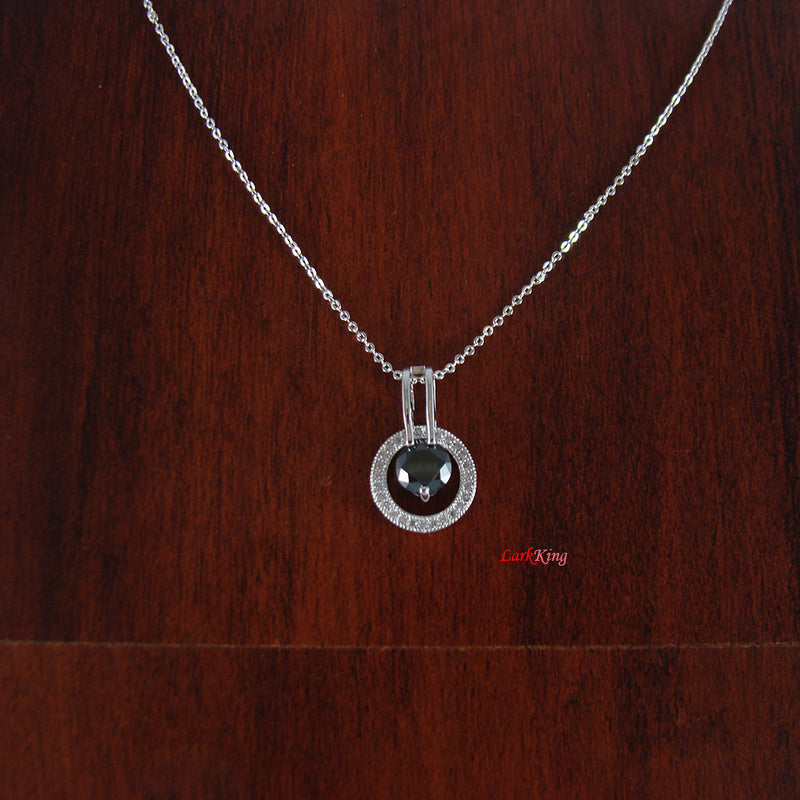Black necklace, dainty necklace, personalized necklace, white gold filled stainless steel necklace, PN41