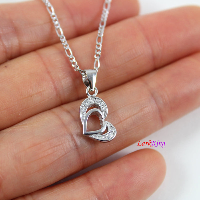 Sterling silver heart necklace,double heart necklace,small heart necklace,heart necklace for girlfriend,heart necklace girl, Larkking LK9219