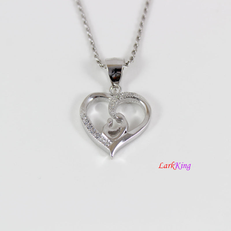 Sterling silver heart necklace,mother and child necklace,mother day gift,valentine gift for mom,new mom necklace, mom gift, Larkking LK9222