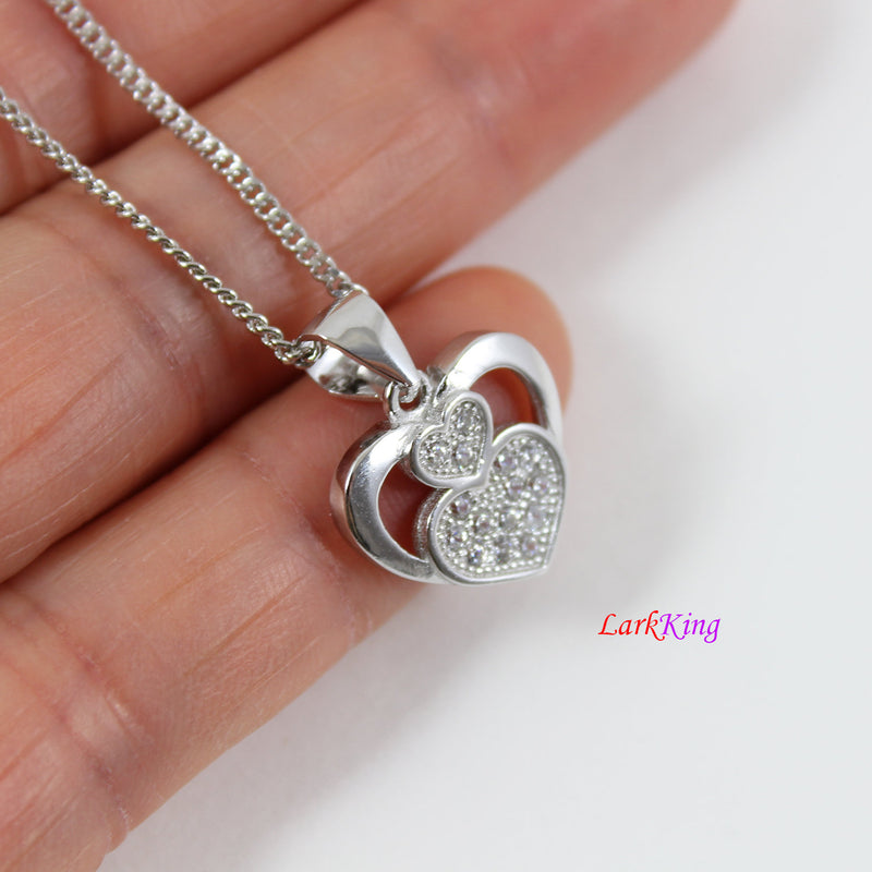 Sterling silver heart necklace,generations necklace for grandma,triple hearts for mom and granddaughter,mother's day gift, Larkking LK9233