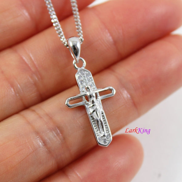 Small cross necklace, sterling silver Jesus cross, crucifix cross, religious necklace, cross necklace women, first communion gift, LK8457