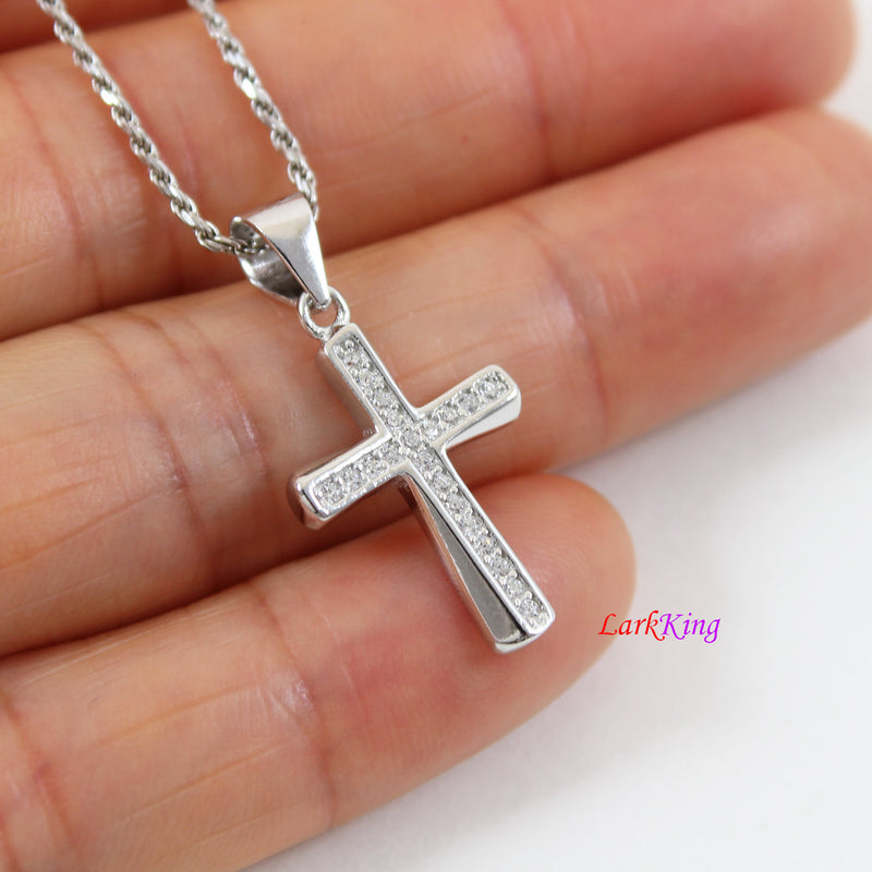 Sterling silver cross necklace, small cross necklace, thick cross pendant, christian cross, religious necklace, first communion gift, LK8462