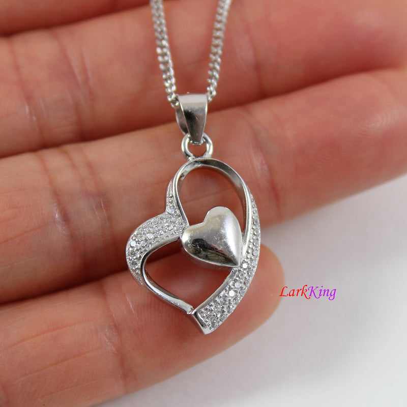 Sterling silver heart necklace,double hearts necklace women,mother and daughter necklace,mother's day gift,necklace heart, Larkking  LK9237
