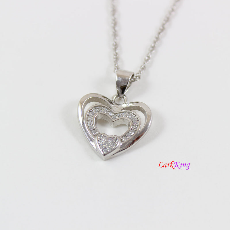 Sterling silver heart necklace,generations necklace for grandma and mom,triple hearts for granddaughters,mother's day gift,Larkking LK9239