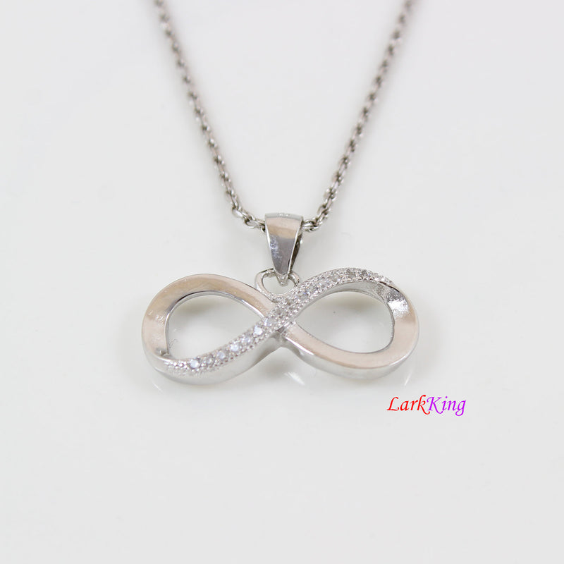 Sterling silver infinity necklace, large infinity pendant, forever love necklace, friendship necklace, infinity necklace for women,  LK8466