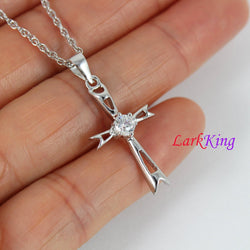 Small cross necklace, sterling silver cross necklace, zircon cross pendant, Christian cross necklace, religion necklace, girls cross, NE8387