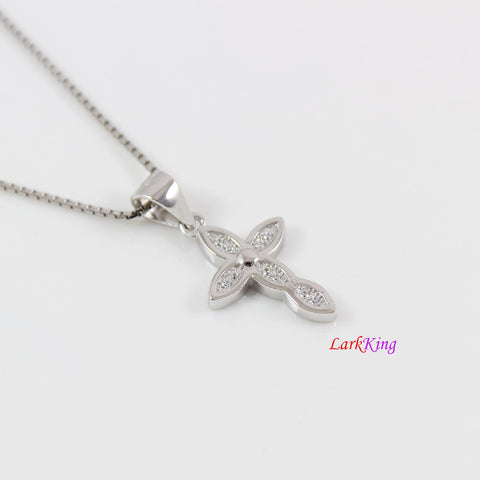 Sterling silver cross necklace, thick cross necklace, unique craft cross pendant, religious necklace, first holy communion necklace,  LK8471