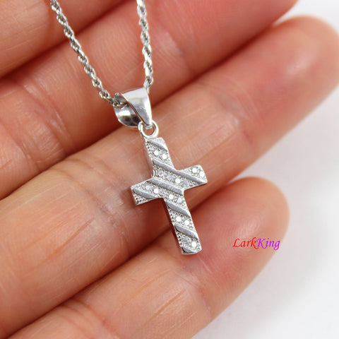 Sterling silver cross necklace, thick cross necklace, unique craft cross pendant, religious necklace, first holy communion necklace,  LK8472