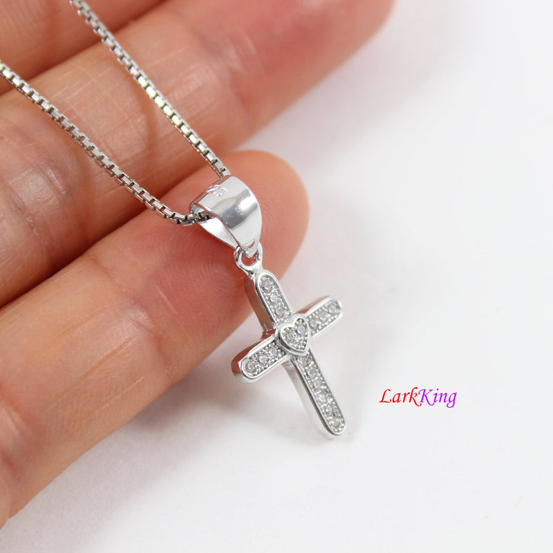 Sterling silver cross necklace, thick cross necklace, unique heart cross pendant, religious necklace, first holy communion necklace,  LK8474