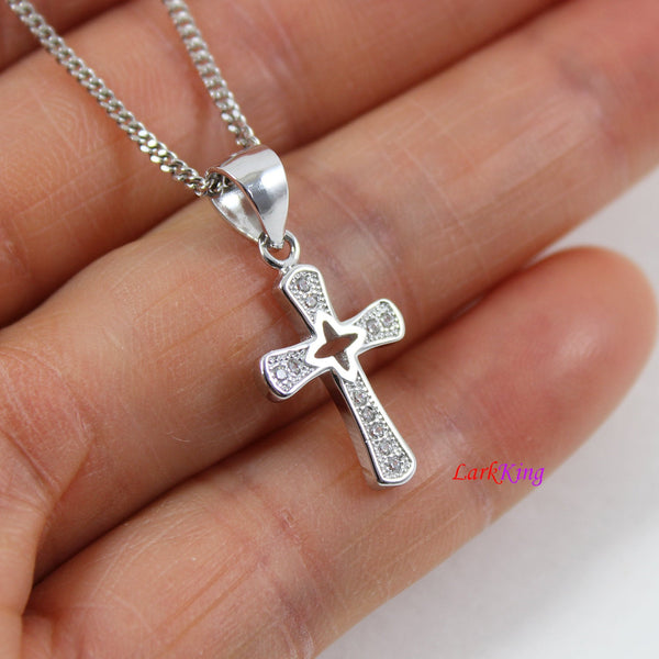 Sterling silver cross necklace, small cross necklace, craft cross pendant, Christian cross necklace, religious jewelry, Baptism gift, LK8475