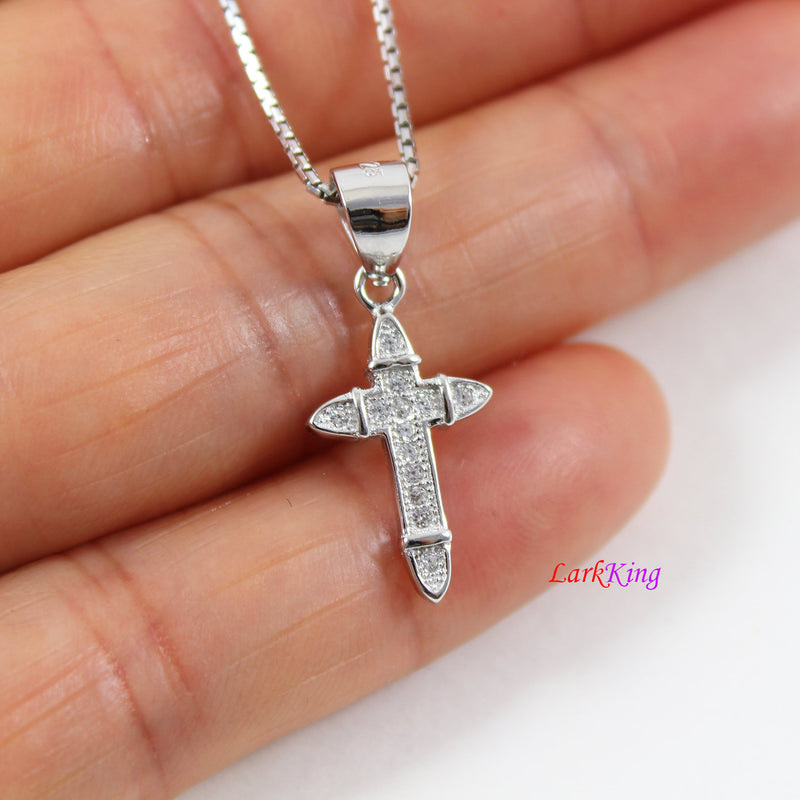 Sterling silver cross necklace, thick cross necklace, airplane cross pendant, religious necklace, cross necklace men, cross boys,  LK8477