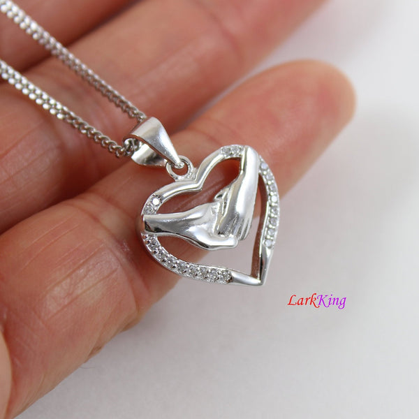 Sterling silver heart necklace,holding hands necklace,heart necklace for girl friend, heart necklace for boyfriend,silver heart gift, LK9242