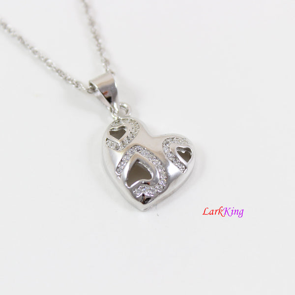 Sterling silver heart necklace,generations necklace for grandma and mom,multiple hearts for granddaughters,mother's day gift,Larkking LK9246