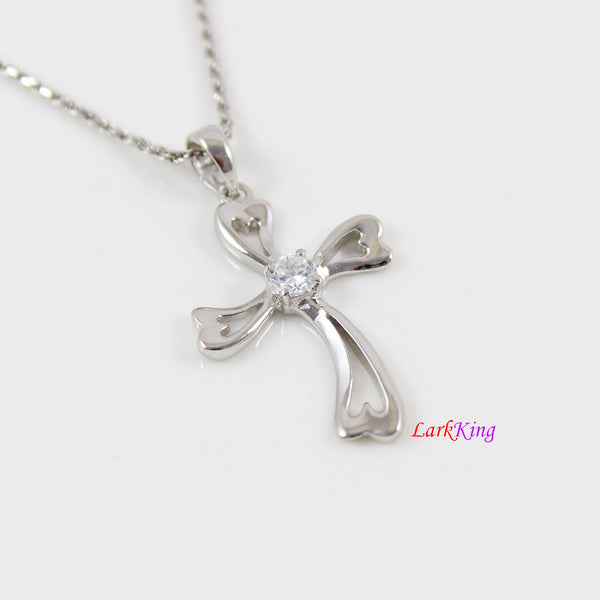 Sterling silver cross necklace, art craft cross pendant, CZ cross necklace, cross necklace for women, religious cross, cross girls,  LK8478