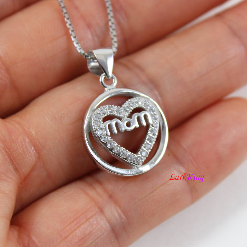 Sterling silver mom necklace,circle heart necklace,mother and daughter necklace,necklace for mom, mom in heart necklace  Larkking  LK9248