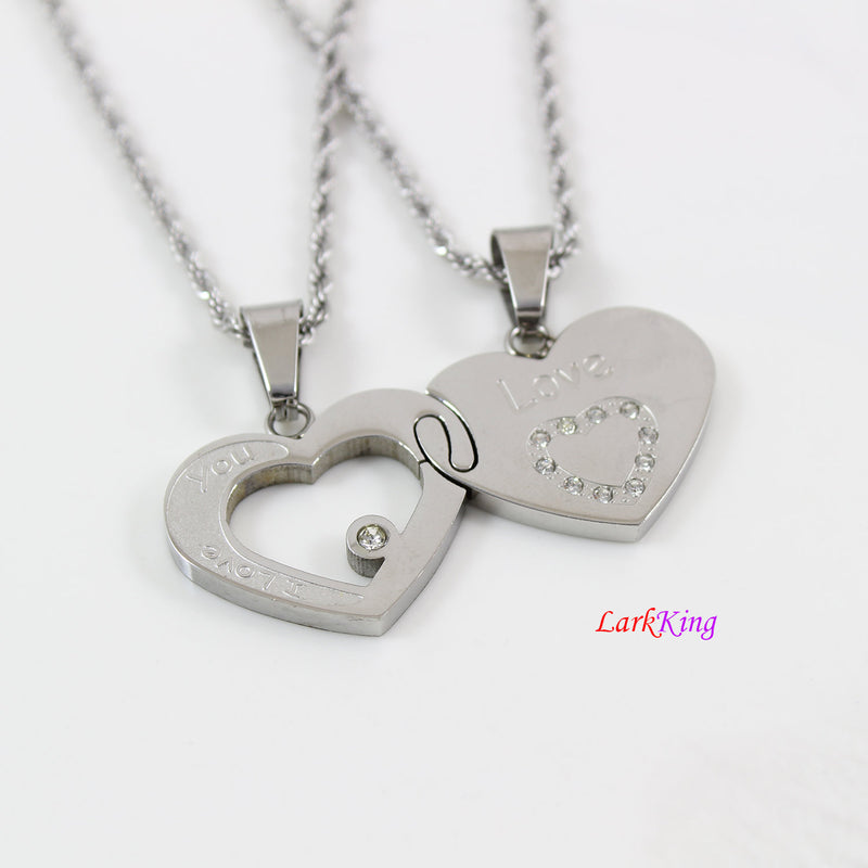 Heart necklace, stainless steel love necklace, couples heart necklace, steel couples necklace, engagement gift, anniversary gift, NE605