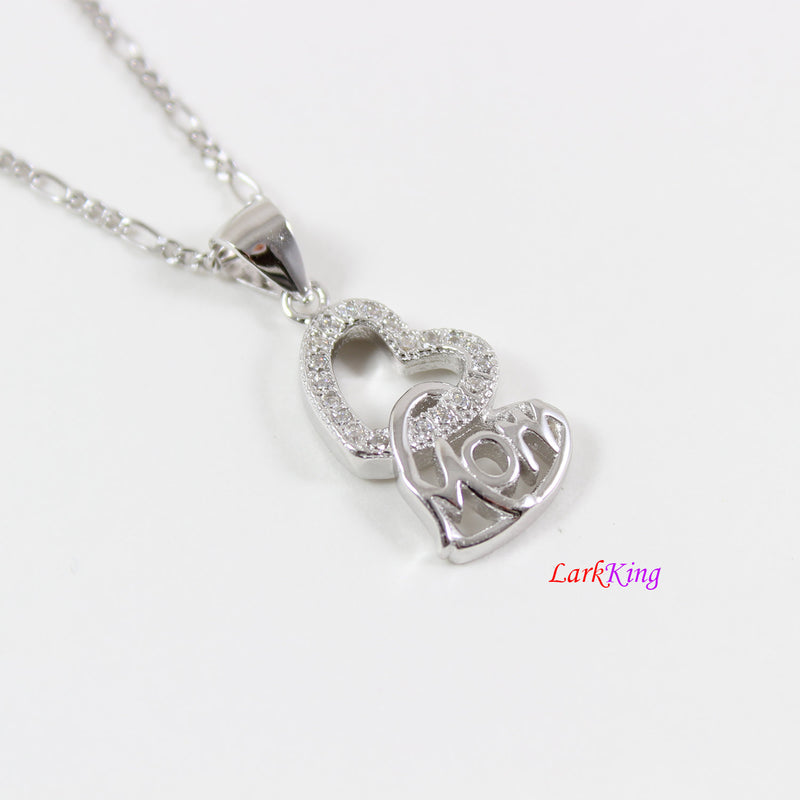 Sterling silver mom necklace,double heart necklace,mother and daughter necklace,mothers day gift,heart necklace for mom, Larkking LK9254