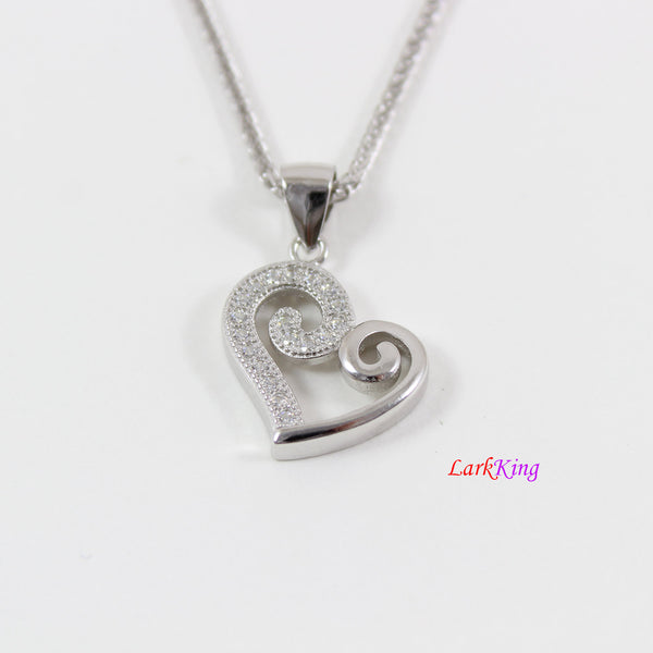 Sterling silver heart necklace, heart necklace for girl, silver heart necklace women, best friend heart necklace, valentine day gift, LK9257