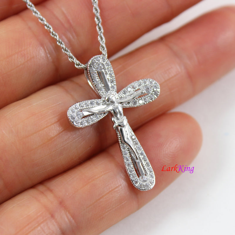 Sterling silver cross necklace, Jesus cross pendant, crucifix cross, cross necklace women, cross necklace men, religious cross, LK8486