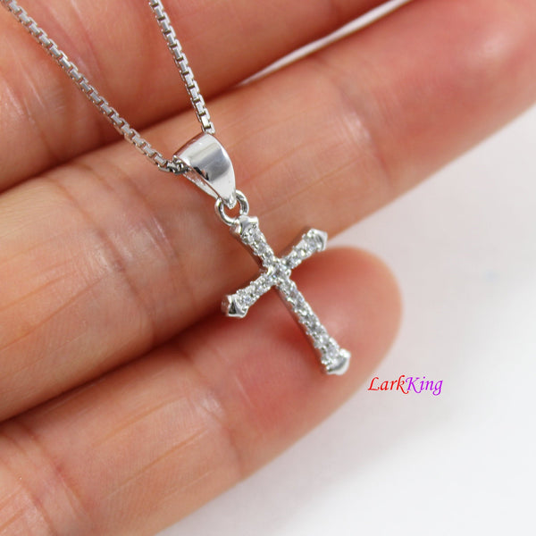 Tiny cross necklace, sterling silver cross necklace, silver CZ cross pendant, religion cross necklace, Christian jewelry, boys cross, LK8488
