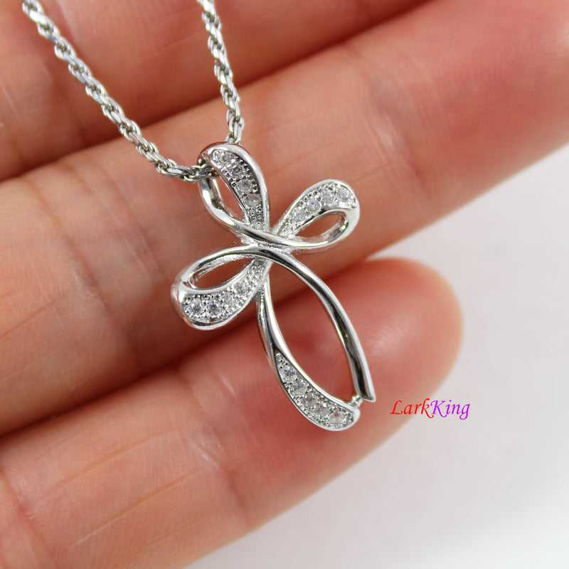 Sterling silver cross necklace, infinity cross necklace, craft cross pendant, cross necklace women, cross girl, religious jewelry, LK8472