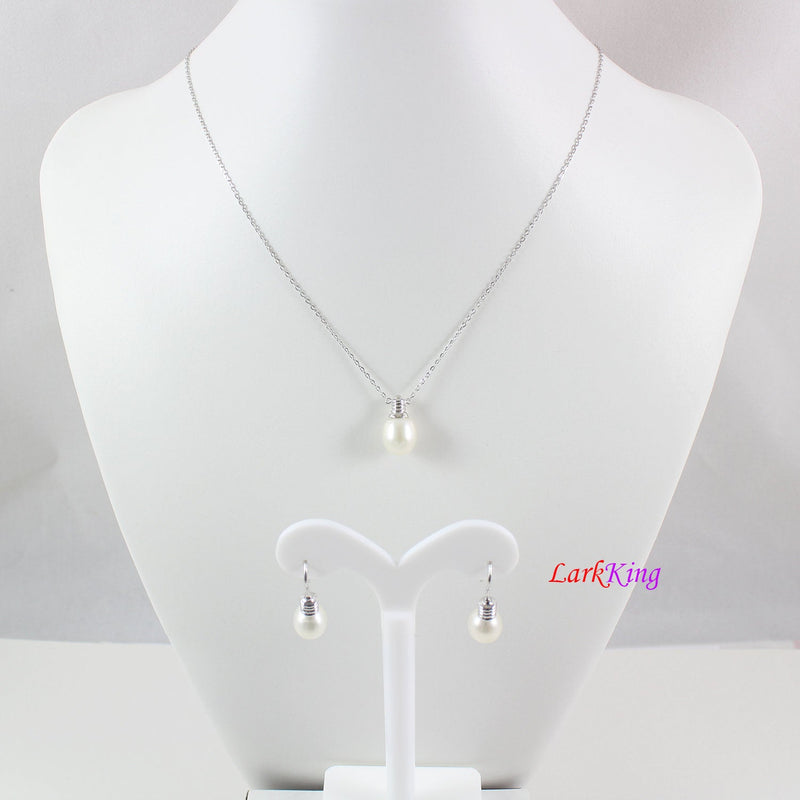 Sterling silver pearl necklace and earring set, pearl necklace, pearl earrings, bridesmaid jewelry set, light bulb necklace set, LK10013