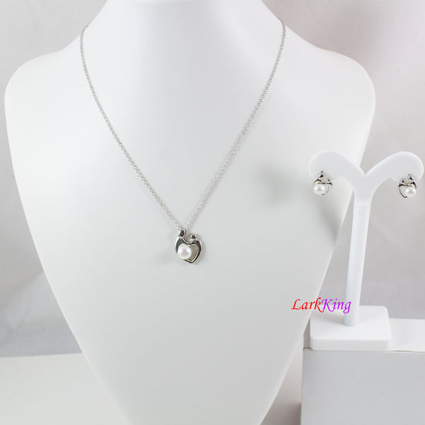 Sterling silver pearl necklace and earrings set, mother and child jewelry set, pearl necklace, pearl earrings, new mom gift, LK10016