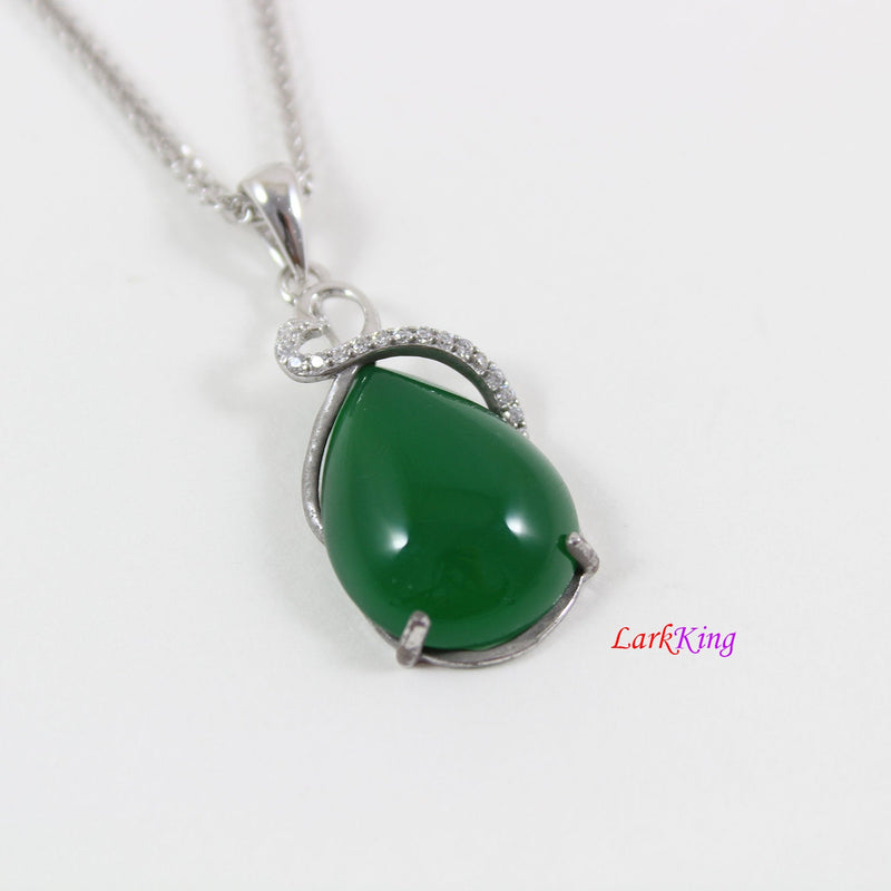 Sterling silver natural jade necklace, large emerald jade necklace, teardrop jade  pendant, infinity heart jade necklace, jade gift, LK11002