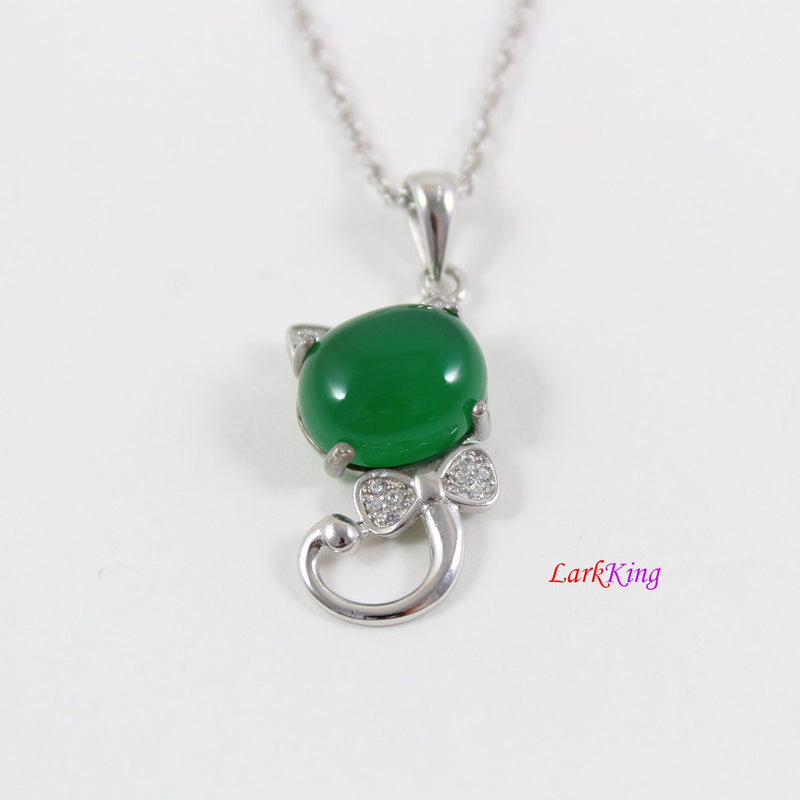 Sterling silver natural jade necklace, emerald jade kitty necklace, green jade oval pendant, silver jade cat necklace, jade gift, LK11004