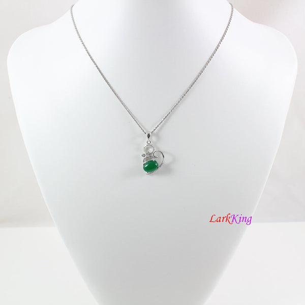 Sterling silver natural jade necklace, butterfly emerald jade necklace, green oval jade  pendant, silver jade butterfly necklace, LK11005