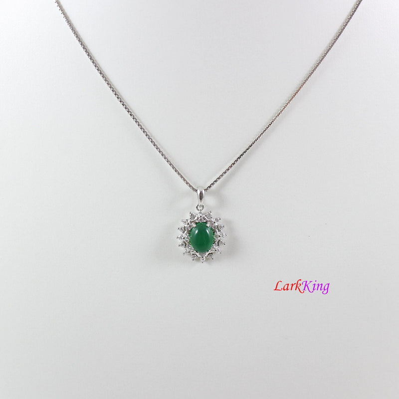 Sterling silver natural jade necklace, oval emerald jade necklace, CZ and jade flower pendant, silver jade oval necklace, jade gift, LK11007